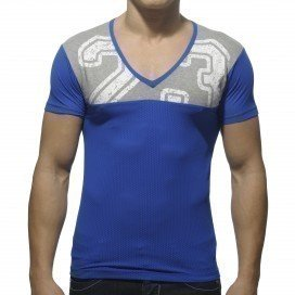 Addicted T-shirt Mesh Col V Bleu