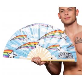 Andrew Christian Éventail géant Rainbow Star 35 x 63 cm