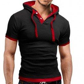T-Shirt Décontracté à Capuche Noir