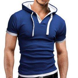 T-Shirt Décontracté à Capuche Bleu
