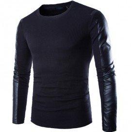 T-shirt Noir avec Double matière