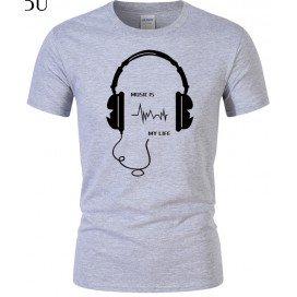 T-Shirt Gris imprimé Casque