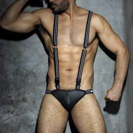 AD Fetish Jock Singlet avec attaches Noir