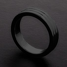 Triune Cockring Ribbed Triune Noir 10mm