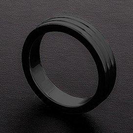 Triune Cockring Ribbed Triune Noir 10mm