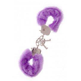 NMC Paire de menottes Métal avec fourrure Violette