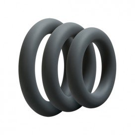 Optimale Lot de 3 cockrings Fin 9mm Noirs