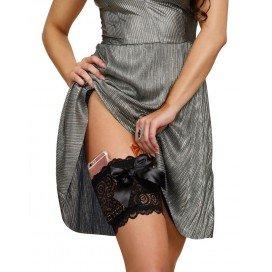 Dreamgirl Jarretière en dentelle avec poches - Noire