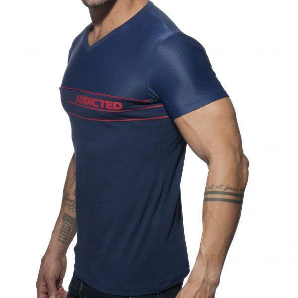 T-shirt V-NECK COMBI MESH Marine