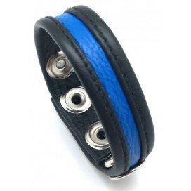 Cockring en cuir Noir-Bleu
