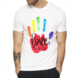 T-shirt blanc avec main Rainbow