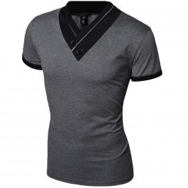 T-shirt Col V Gris