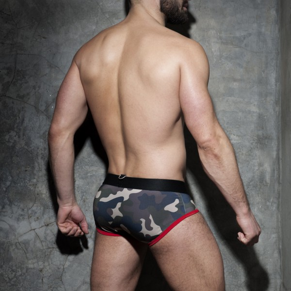 Slip Zipper Camo Brief Rouge